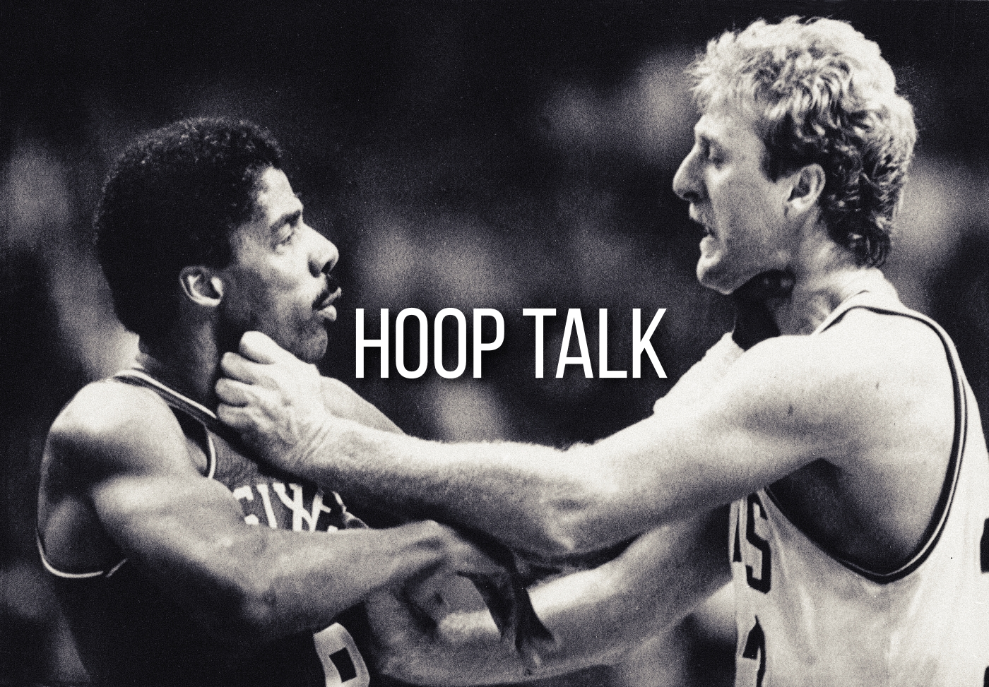 Larry Bird and Julius Erving in a tussle